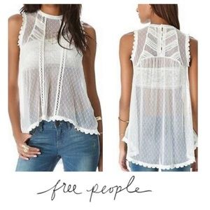Free People Sleeveless Lace Sheer Top
